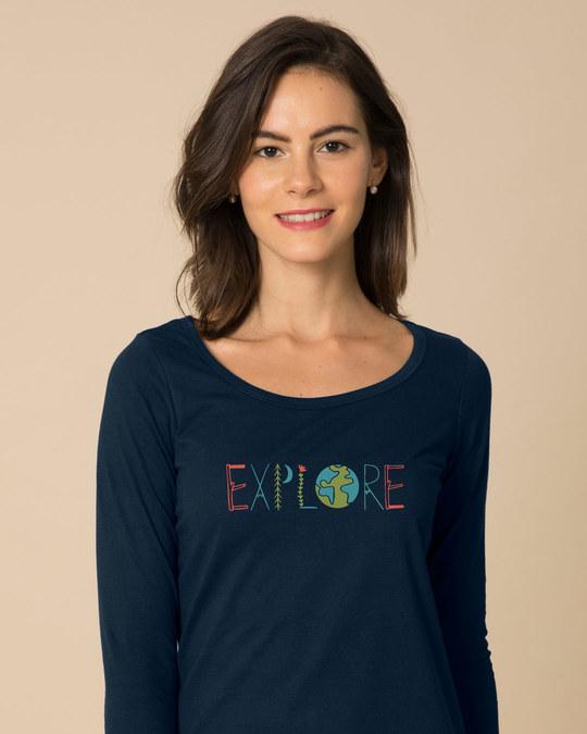 Shop Explore Colors Scoop Neck Full Sleeve T-Shirt-Front