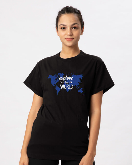 Shop Explore Map Boyfriend T-Shirt-Back