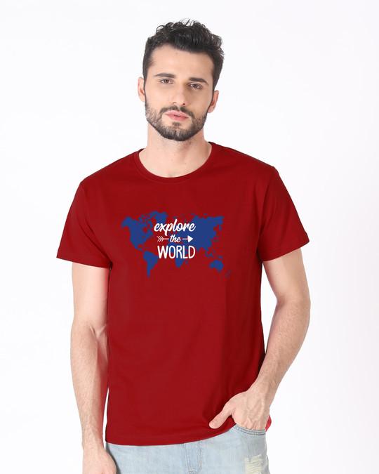 Shop Explore Map Half Sleeve T-Shirt-Back