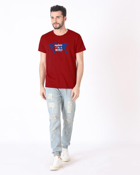 Shop Explore Map Half Sleeve T-Shirt