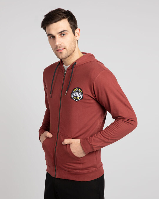 Shop Explore More Badge Zipper Hoodie-Design