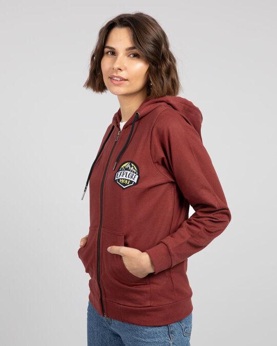 Shop Explore More Badge Zipper Hoodie-Design