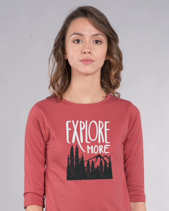 Shop Explore More Mountains Round Neck 3/4th Sleeve T-Shirt-Front