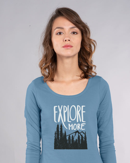 Shop Explore More Mountains Scoop Neck Full Sleeve T-Shirt-Front