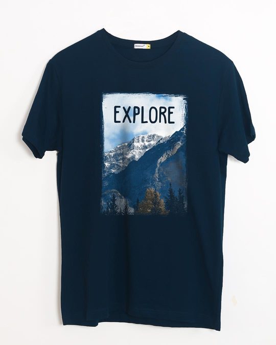 Shop Explore The Mountains Half Sleeve T-Shirt-Front