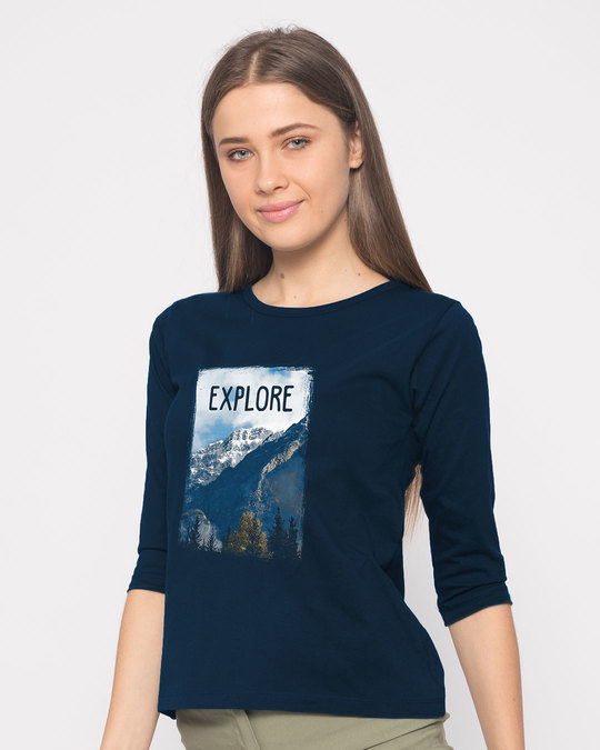Shop Explore The Mountains Round Neck 3/4th Sleeve T-Shirt-Back