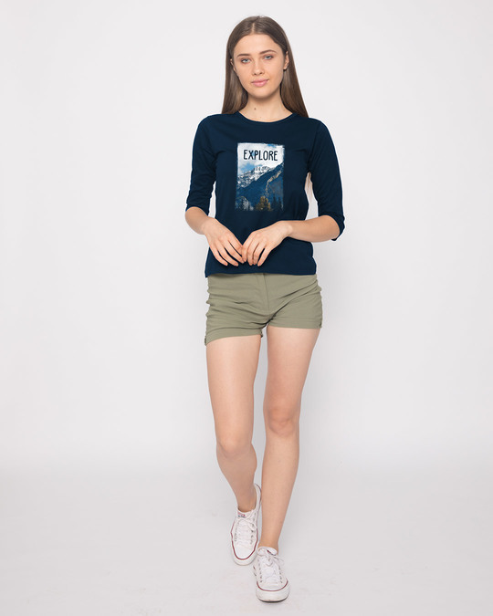 Shop Explore The Mountains Round Neck 3/4th Sleeve T-Shirt