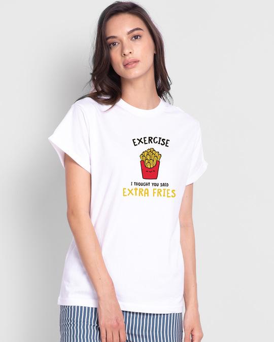 Shop Extra Fries Boyfriend T-Shirt White-Back