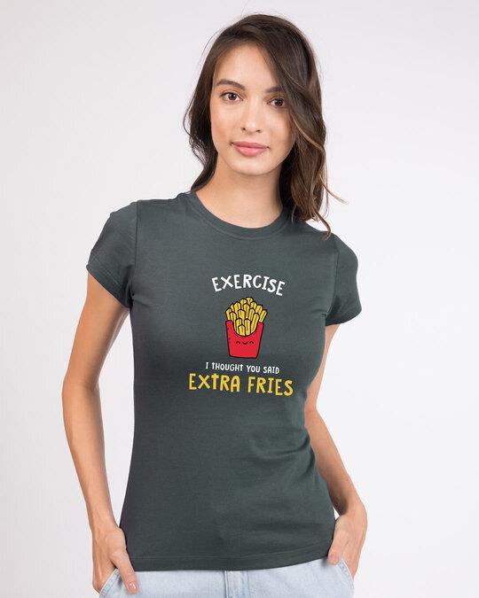 Shop Extra Fries Half Sleeve Printed T-Shirt Nimbus Grey-Back