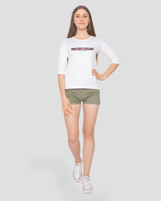 Shop Fab In Every Way Round Neck 3/4th Sleeve T-Shirt-Full