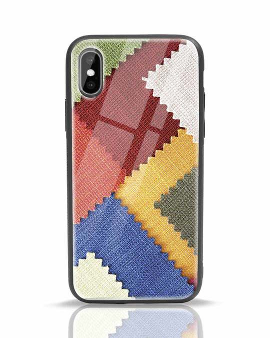 Shop Fabric Feels iPhone XS Glass Mobile Cover-Front