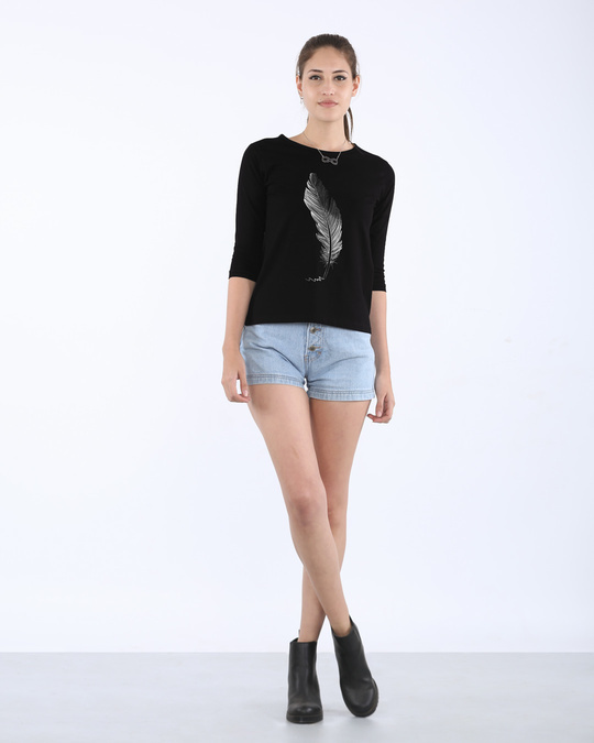 Shop Fading Feather Round Neck 3/4th Sleeve T-Shirt