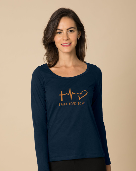 Shop Faith.love.hope Scoop Neck Full Sleeve T-Shirt-Front