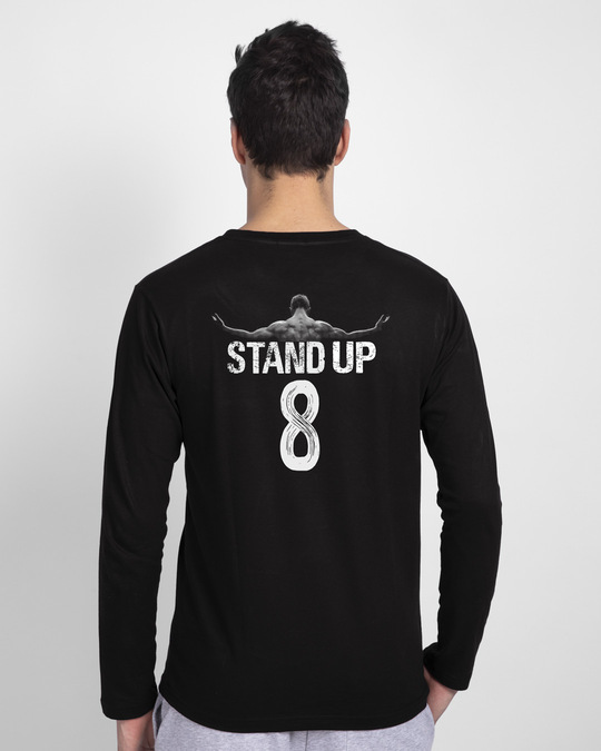 Shop Fall 7 Times Stand Up 8 Full Sleeve T-Shirt-Design
