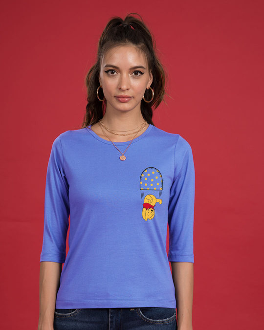 Shop Falling Pooh Round Neck 3/4th Sleeve T-Shirt (DL)-Front