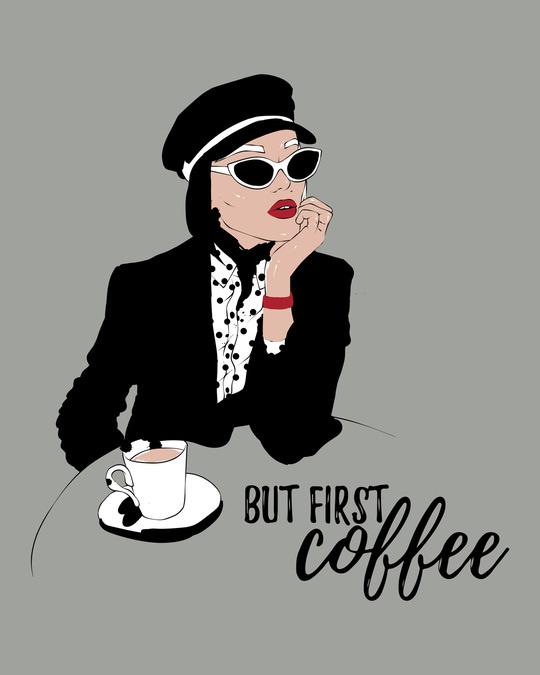 Shop Fashion Coffee Boyfriend T-Shirts Meteor Grey-Full