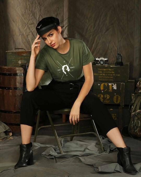 Shop Fast And Fierce Boyfriend T-Shirt Alpha Green-Front