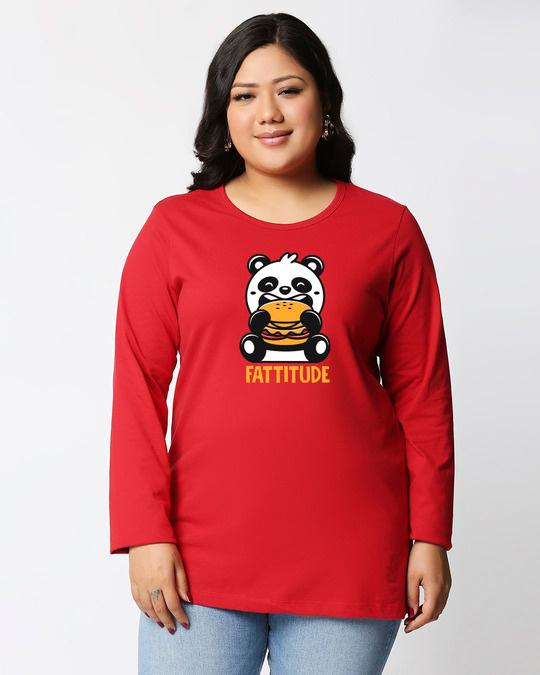 Shop Fatitude Full Sleeve Plus Size T-Shirt-Front
