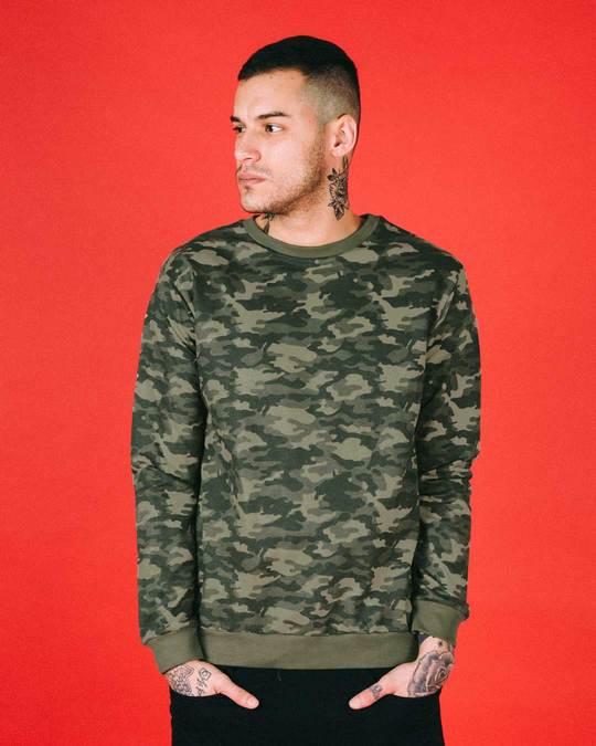 Shop Fauna Green Camouflage Crew Neck Sweatshirt-Front