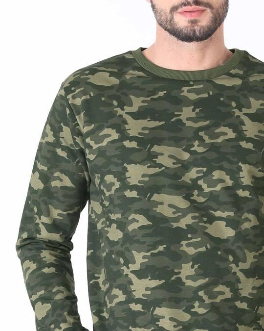 Shop Fauna Green Camouflage Crew Neck Sweatshirt