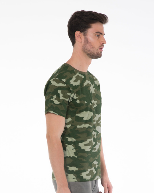 Shop Fauna Green Camouflage Half Sleeve T-Shirt-Back