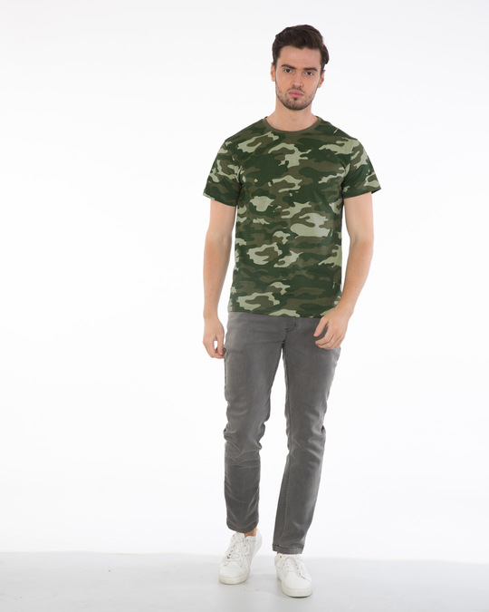 Shop Fauna Green Camouflage Half Sleeve T-Shirt