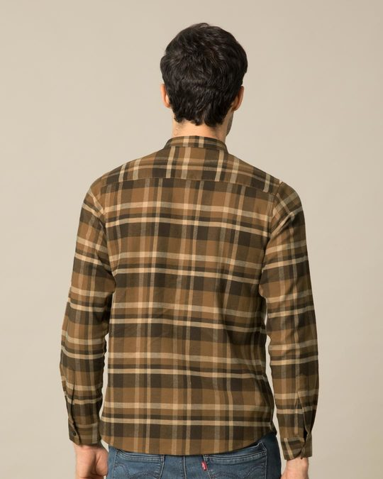 Shop Fawn Brown Checked Shirt-Design