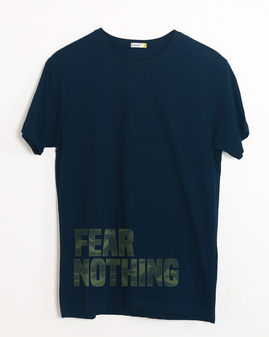 Shop Fear Nothing Camo Half Sleeve T-Shirt-Front