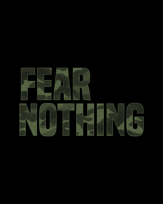 Shop Fear Nothing Camo Round Neck 3/4th Sleeve T-Shirt