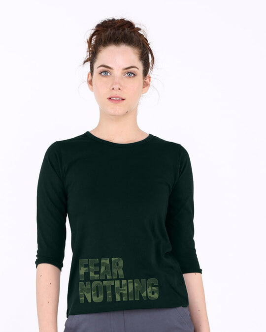 Shop Fear Nothing Camo Round Neck 3/4th Sleeve T-Shirt-Front