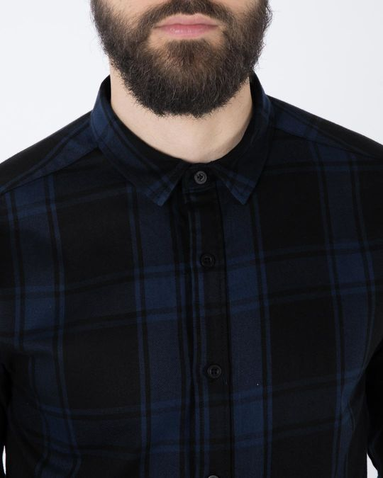 Shop Feather Blue Checked Full Sleeve Shirt