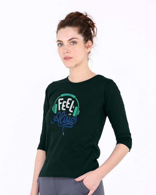 Shop Feel Alive Round Neck 3/4th Sleeve T-Shirt-Back