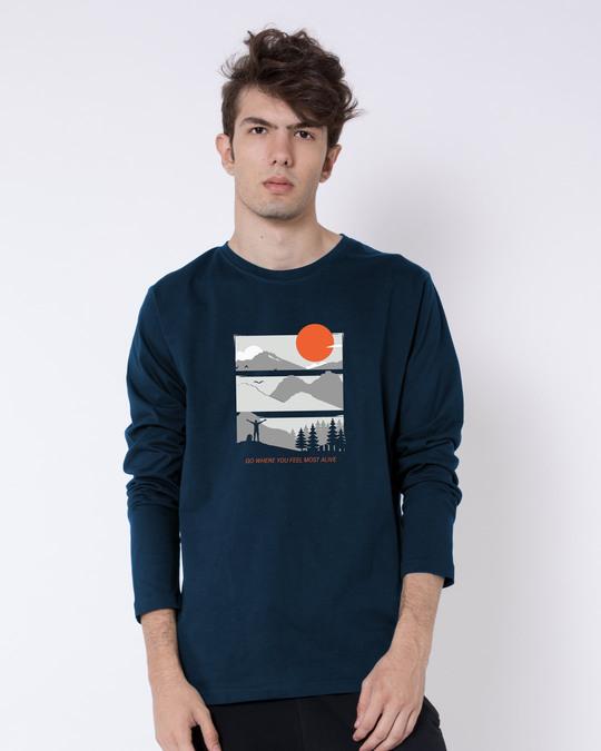 Shop Feel Most Alive Full Sleeve T-Shirt Navy Blue-Back
