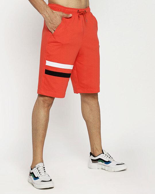 Shop Fiery Stripes Men's Sports Trim Shorts-Back