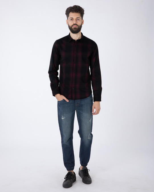 Shop Fig Purple Checked Full Sleeve Shirt-Full