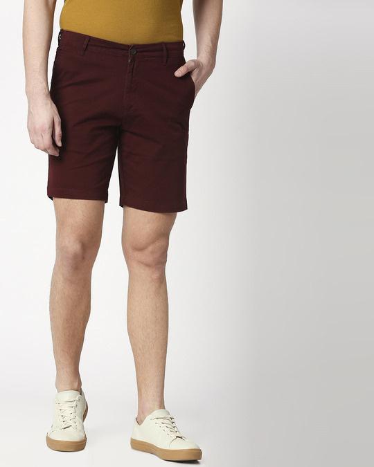 Shop Figo Burgundy Men's Chinos Shorts-Back