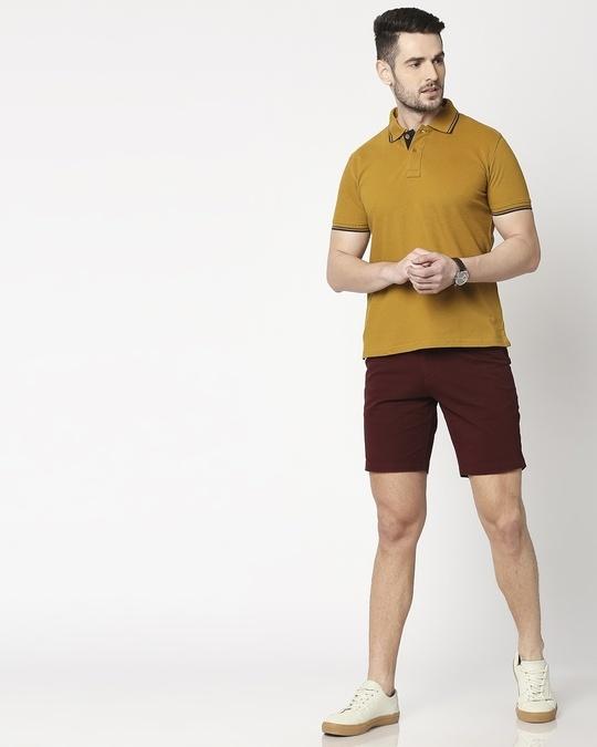Shop Figo Burgundy Men's Chinos Shorts