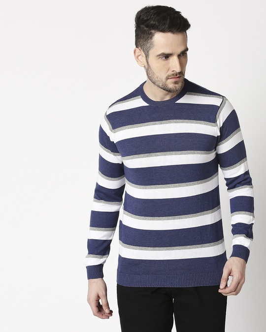 Shop Indigo Blue Striped Sweater-Back