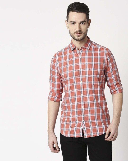 Shop Men's Coral Pink Slim Fit Casual Check Shirt-Back