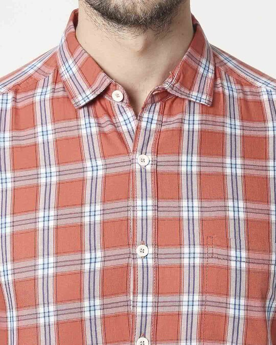 Shop Men's Coral Pink Slim Fit Casual Check Shirt