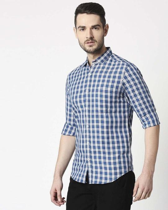 Shop Men's Indigo Blue Slim Fit Casual Check Shirt-Design