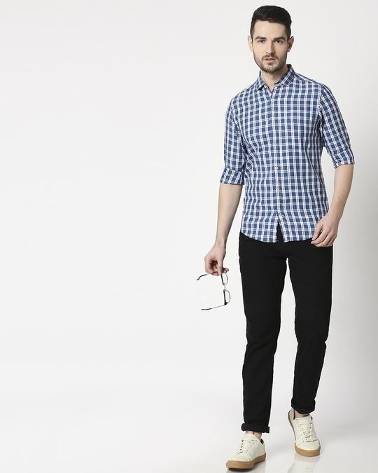 Shop Men's Indigo Blue Slim Fit Casual Check Shirt