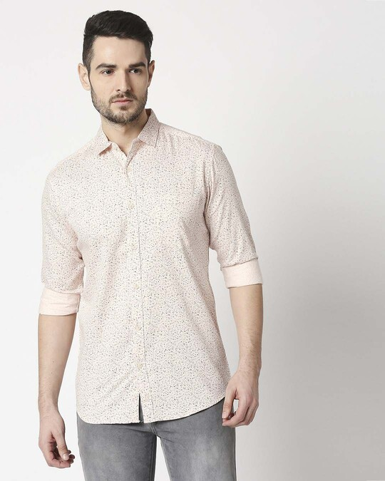 Shop Men's Pink Slim Fit Casual Print Shirt-Back