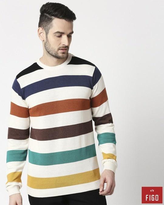 Shop Multicolour Striped Sweater-Front