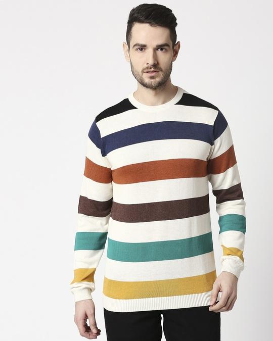 Shop Multicolour Striped Sweater-Back