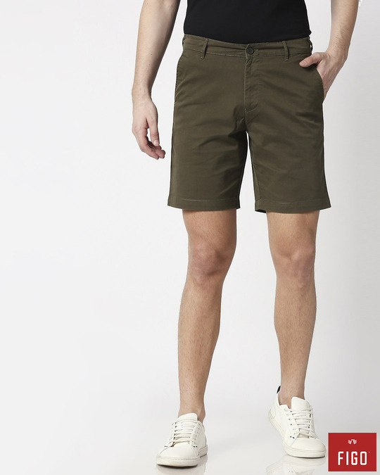 Shop Olive Green Men's Chinos Shorts-Front