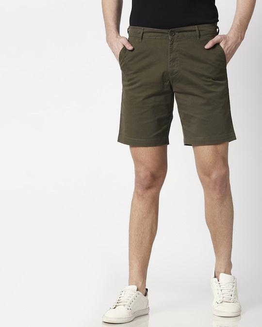 Shop Olive Green Men's Chinos Shorts-Back