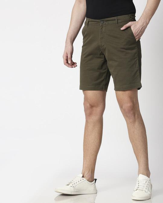 Shop Olive Green Men's Chinos Shorts-Design