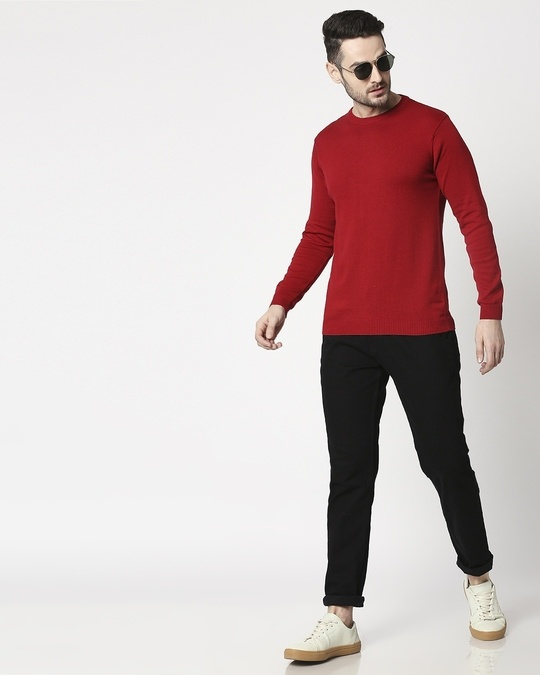 Shop Red Colour Block Sweater