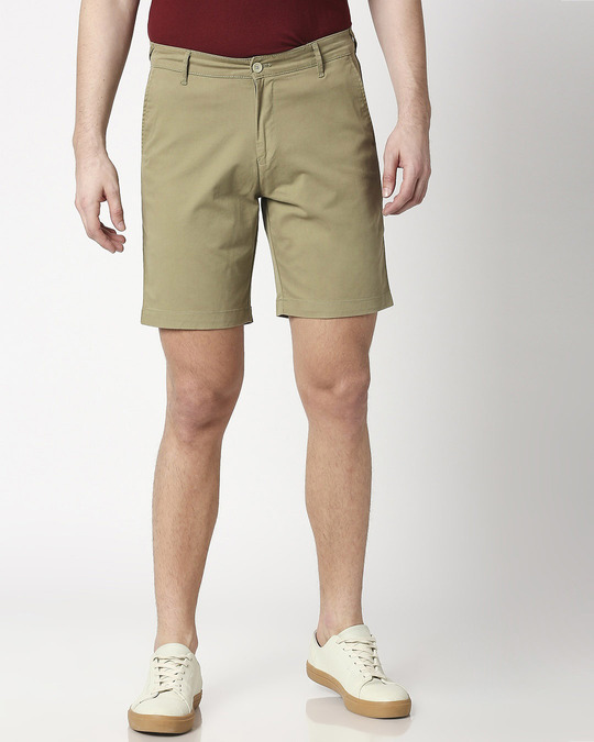 Shop Sage Green Men's Chinos Shorts-Back